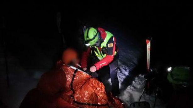 I soccorsi alla sciatrice inglese sulla Maiella