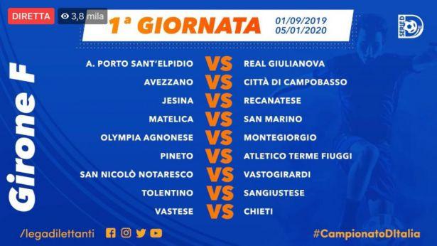 La prima Giornata del campionato di Serie D